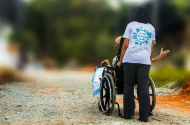 hospice, pushing wheel chair, disabled